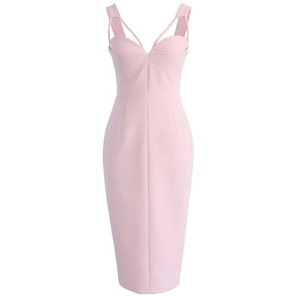 Chicwish My Style Recipe Dress in Pink (185 BRL) ❤ liked on Polyvore featuring dresses, pink, bodycon dress, bustier dress, pink fitted dress, fitted cocktail dresses and pink dress