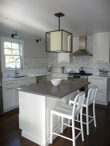 doors, gray counters, backsplash tile