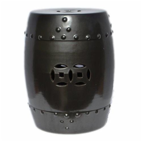 Gunmetal Ceramic Garden Stool