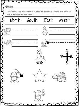 Location Words Practice Pages Kindergarten. First Grade. Standards Based. Left and Right. Near and Far. Up and Down. Opposites. North. South. East. West. Cardinal Directions. Worksheet. Desk work. Morning work.