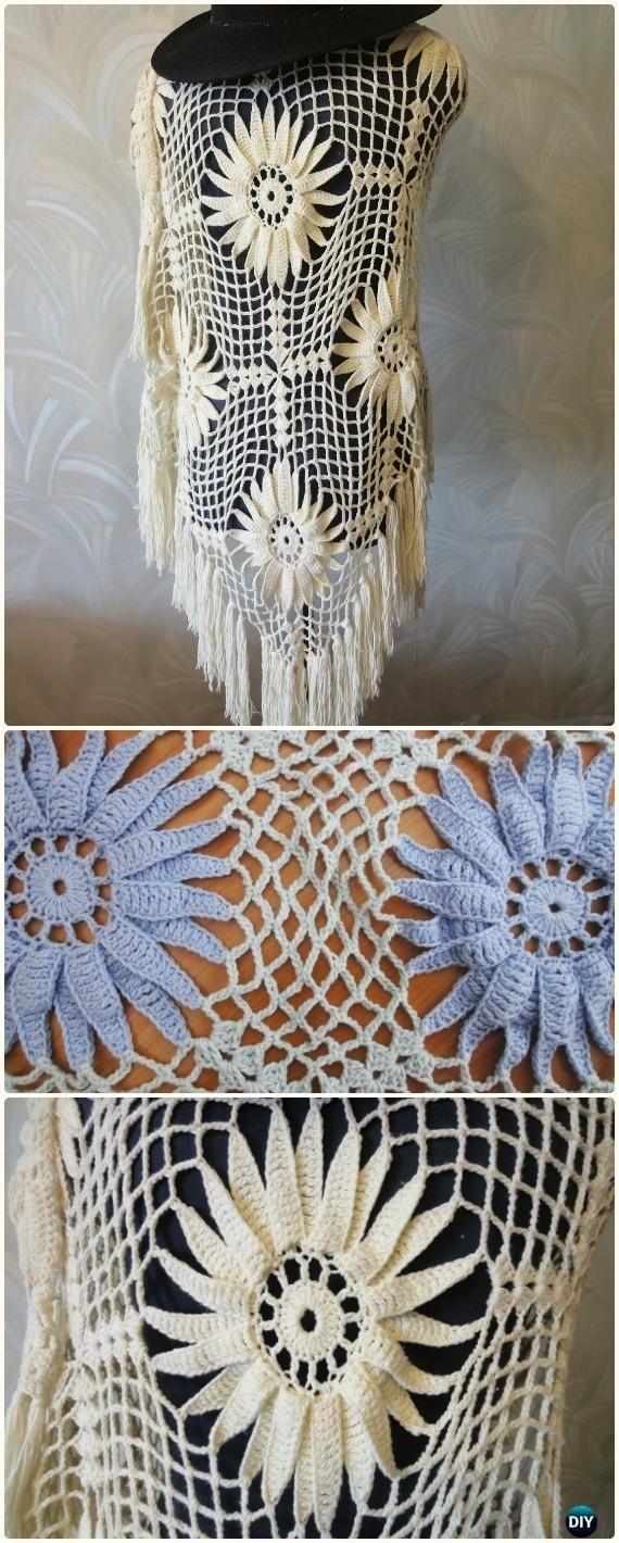 Crochet Large Flower Shawl Free Pattern Video - Crochet Women Shawl Sweater Outwear Free Patterns