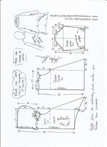 Esquema de modelagem de blusão com capuz tamanho PP.