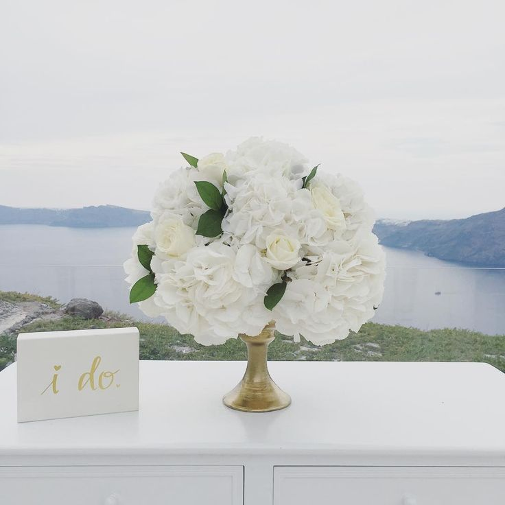 White hydrangea centerpiece - Santorini wedding