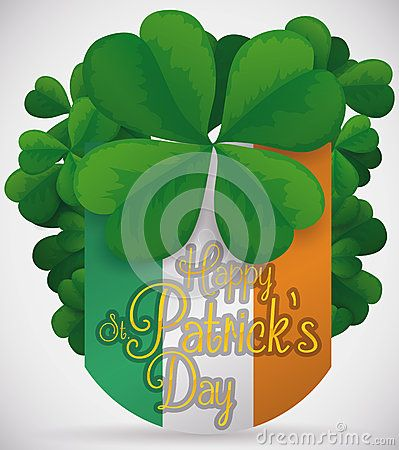Poster with clovers around the Irish flag with a greeting message celebrating St. Patrick's Day and a giant lukcy queatrefoil.
