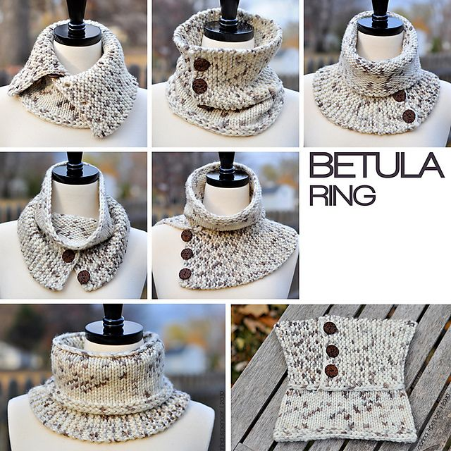 This takes 98 yards of bulky yarn--would be PERFECT for some of my handspun!  Pattern is $3.49  Ravelry: Betula Ring pattern by Carina Spencer