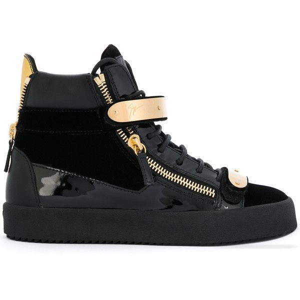 Giuseppe Zanotti Design high top sneakers (2.835 BRL) ❤ liked on Polyvore featuring shoes, sneakers, black, black trainers, giuseppe zanotti high tops, giuseppe zanotti shoes, black high-top sneakers and black strappy shoes