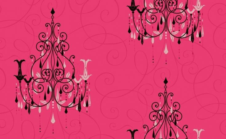 Chandelier (M0380) - Vymura Wallpapers - Black chandeliers, dripping with silver glitter jewels on a hot pink, soft feel textured curlicue covered background – a breathtaking design. Please ask for a sample for true colour match.
