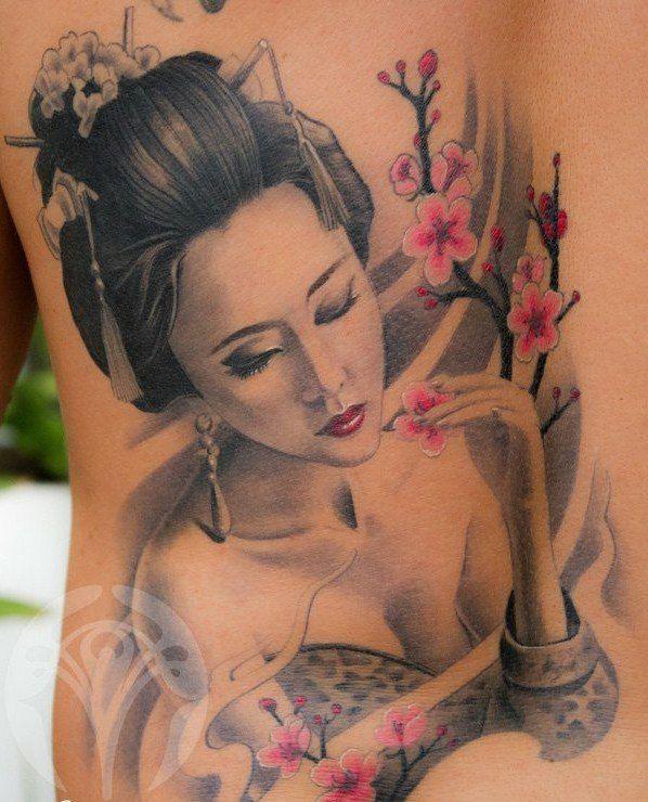 Tattoo mit Geisha-Motiven am Schulterblatt