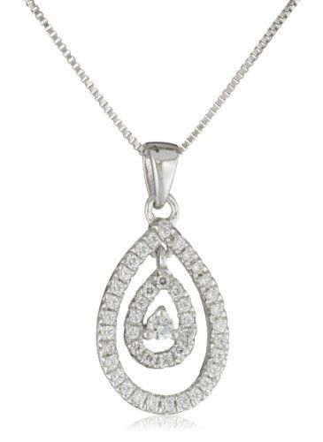 """Sterling Silver Cubic Zirconia Pear Shape Pendant Necklace, 18"""" Amazon Curated Collection. $49.99. Made in China"""