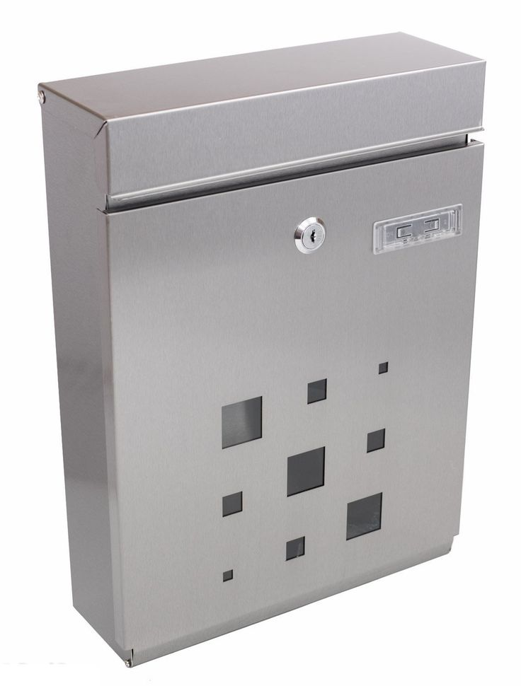 Premium STAINLESS STEEL Vertical Lockable Mailbox By PEELCO - Modern Design - Magnetic Lid Allows For Keyless Use - Powder Coated Galvanized Steel - Rust & Weather-Proof - Safe & Secure - Unique Key