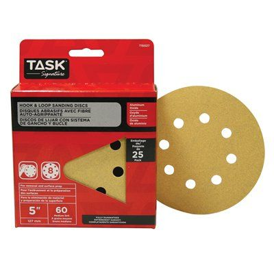 Task Tools T15027 Signature 8 Hole Hook and Loop 60 Grit Disc (25 Pack)