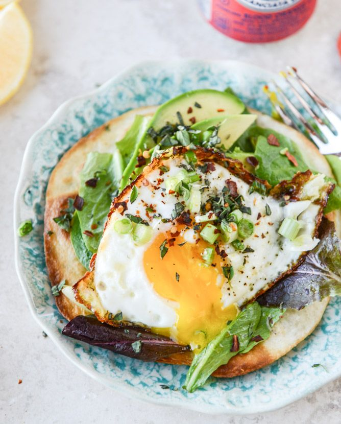 Fried Egg Crispy Tortillas with Lemon Greens and Toasted Sesame Oil