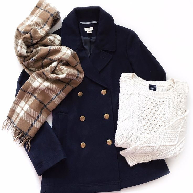 Camel plaid scarf + classic navy peacoat + cream cable knit sweater                                                                                                                                                                                 More