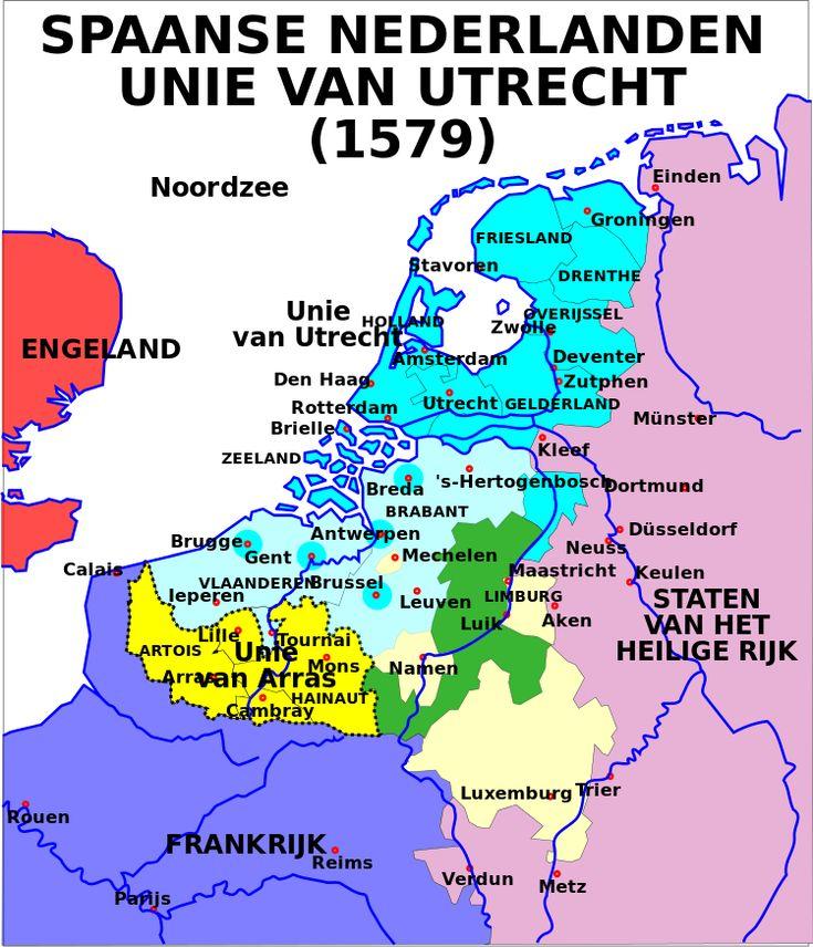 Map Union of Arras and Utrecht 1579-nl - Unie van Utrecht (1579) - Wikipedia