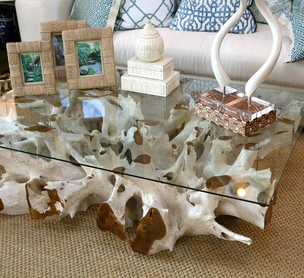 Teak Root Coffee Tables: A Bold, White-washed, Teak Root Coffee Table. Available In Different Sizes, All One-of-a-kind