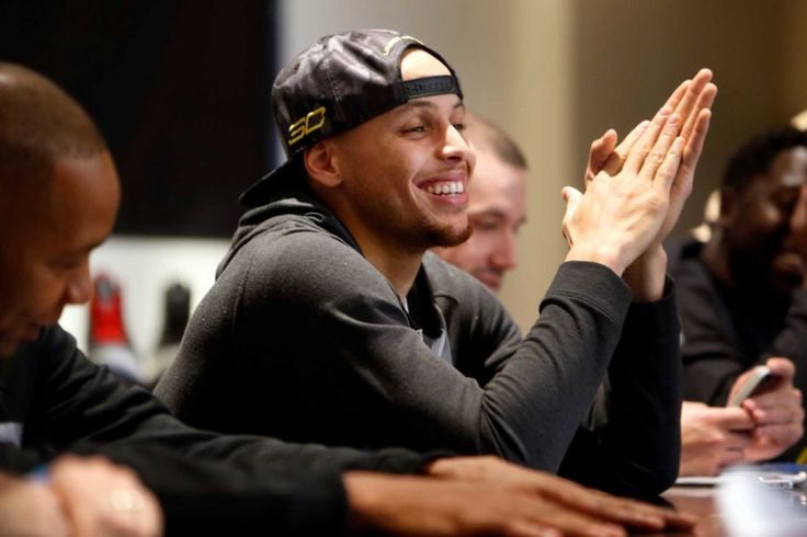 The Warriors' Stephen Curry unveils his new Under Armour shoe line at St. Joseph Notre Dame High School in Alameda on Thursday. Photo: Scott Strazzante / The Chronicle / ONLINE_YES