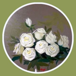 Art by Viorica Buga: White roses , tondo 40 cm, oil on canvas