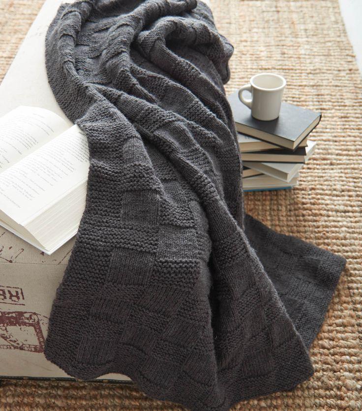 Basketweave Afghan | FREE Knitting Pattern | Knit Blanket from @joannstores | Knit Afghan | Gray Blanket