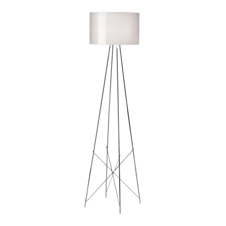 The sleek Ray F2 Floor Lamp was designed by Italian designer Rodolfo Dordoni in 2006 and provides a touch of simple elegance to any interior. Its stylish base is made from strong, slender steel tubes, which have been welded, brushed and chrome-plated giving the lamp a contemporary look. When turned on the lamp will emit a soft diffused light through its blown glass outer diffuser, which is grey with a glossy external finish. Its inner diffuser is made from injection-moulded polycarbonate ...