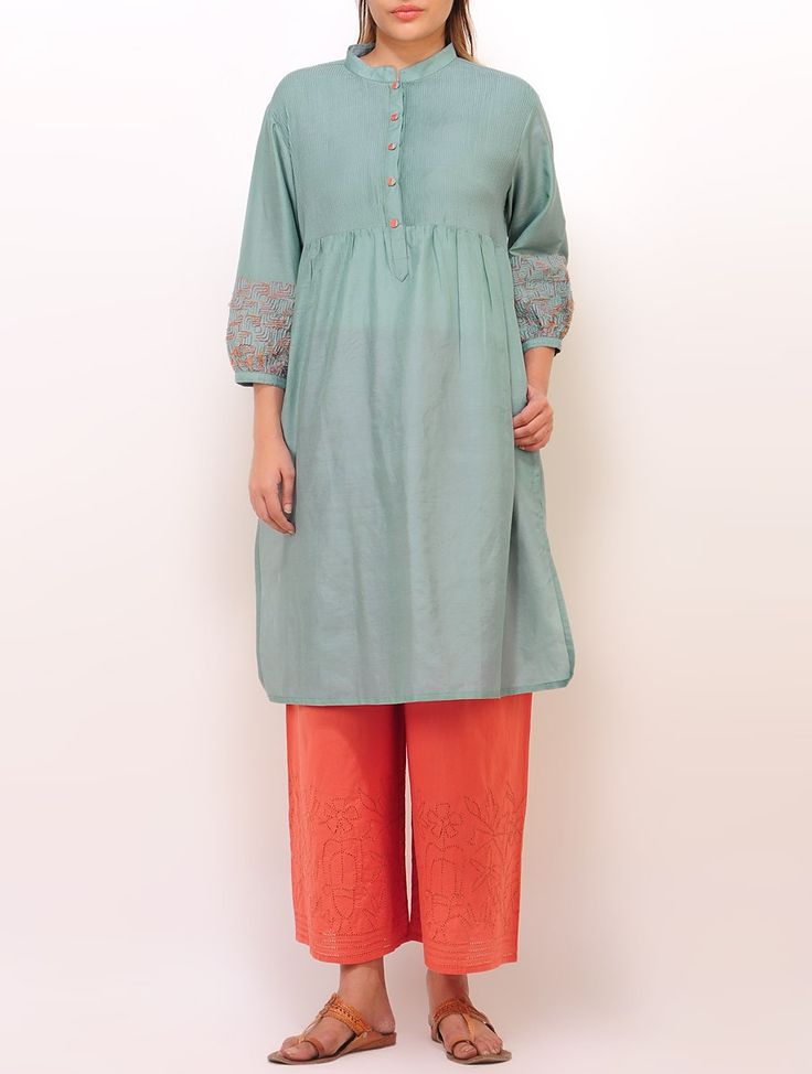 Buy Aqua Blue Pintuck Yoke Detailed Kurta Silk Cotton Apparel Tunics & Kurtas A Voyage Within Nature Inspired Stoles and Jewelry Online at Jaypore.com