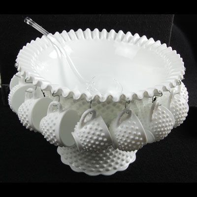 Vintage Fenton Milk Glass Hobnail Punch Bowl Set w 12 Cups | eBay So pretty