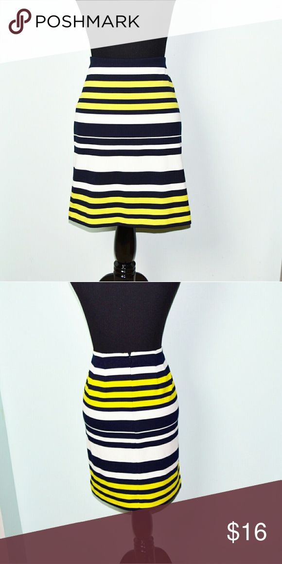 Ann Taylor Yellow and Navy Striped Skirt In excellent condition! Very stretchy, beautiful, and flattering! Buy 3 items and get 1 free plus 15% off your purchase total! Ann Taylor Skirts Mini