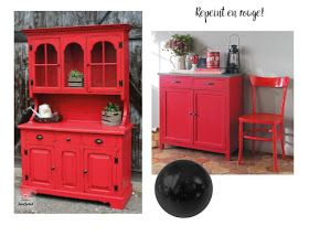 relooking meuble, diy meuble, customisation meuble vintage, meuble rouge vintage