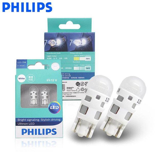 Philips Led W5w T10 11961ulw Ultinon Led 6000k Cool Blue White Light Turn Signal Lamps Interior Light Stylish Driving Interior Lighting Philips Led White Light