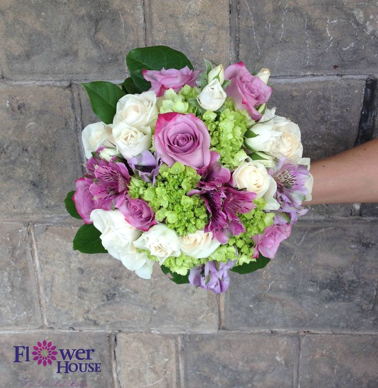 Gorgeous ocean song roses, hydrangea, green hydrangea, white spray rose, and alstroemeria bridal bouquet #flowerhousecreations