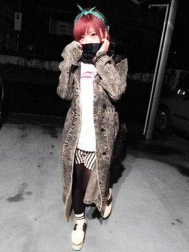 珍しいケミカルウォッシュ♪冬のファッションアイテム デニムコート コーデを集めました♪