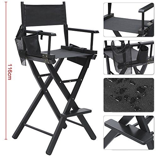 popamazing 1 x black waterproof folding makeup artist director chair wood light weight with arms