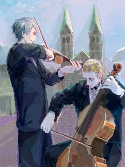 Germany and Prussia playing classical instruments.