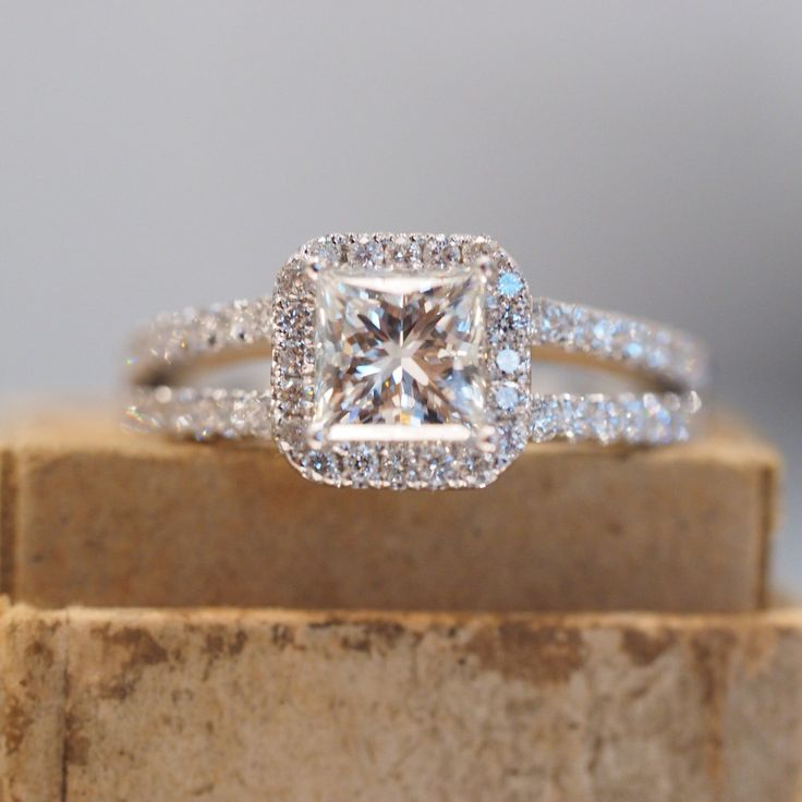 halo princess cut engagement ring with split shank band in white gold with diamonds micropave - Wedding Ring Princess Cut