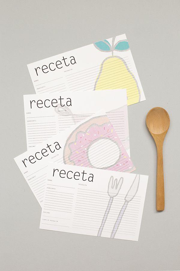 Tarjetas para recetas imprimibles gratis    Free printable recipe cards
