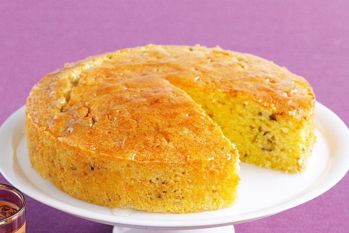 Pistachio and lemon syrup cake