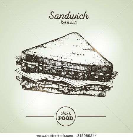 Vintage fast food sandwich sketch - stock vector