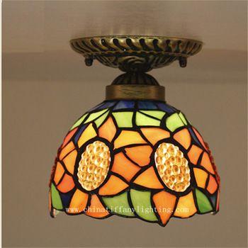 Tiffany lâmpada do teto, Estilo europeu barroco, Med, Bohemia superfície montado Tiffany luz, 16 cm teto girassol lampTFC-011-16CM