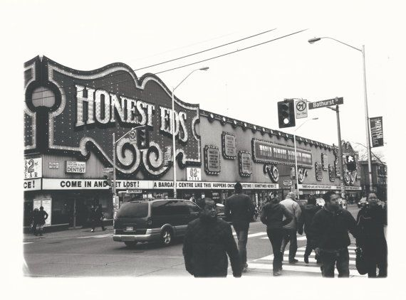 Hang a piece of Toronto history on your wall!  Honest Eds in the the Annex - a city landmark.  Black and white fiber based silver gelatin photographic print.