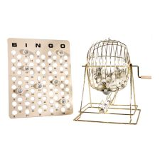 "Extra Large Ping Pong Bingo Cage Set; Includes Cage, bingo balls, and master board; Stand 19"" H; Classic brass finish"