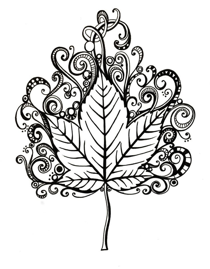 leaf coloring pages for adults - photo#6