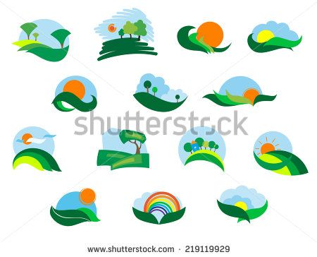 Summer and autumn agricultural landscape icons set with fields, meadows, sun, sky, tree and hills