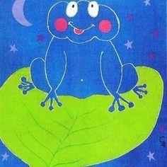 """Tableau pour chambre d'enfant ou bébé : mignonne grenouille, """"Clair de lune"""". Acrylique sur toile, 30X24cm. Signé."""