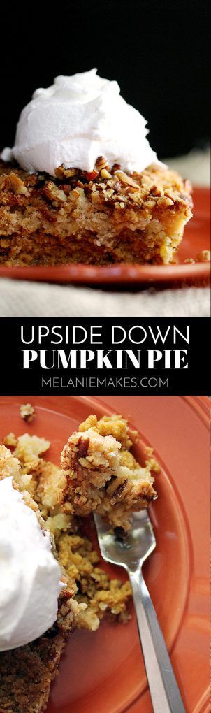 Forget the traditional and try something a bit different! This Upside Down Pumpkin Pie flips your traditional Thanksgiving dessert putting the pumpkin filling on the bottom and the crust-like crunch on top. The end result is anything but typical and one y
