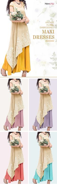 US$25.06 Vintage Floral Embroidered Sleeveless Two Layers Long Maxi Dresses