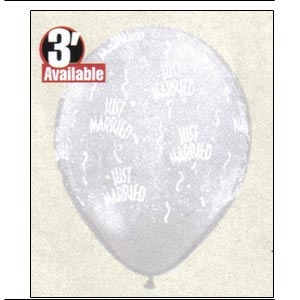 "11"" Diamond Clear ""Just Married-A-Round"" Balloons (10 balloons)"