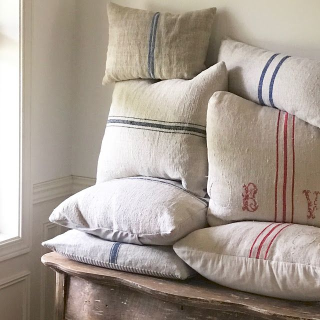Little Farmstead: DIY Grain Sack Pillows (And Where to Buy Grain Sacks)