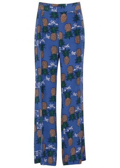 Blue pineapple-print silk trousers - All Clothing - Women