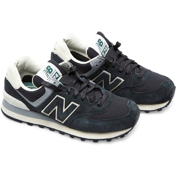 New Balance ML574 suede and mesh sneakers (3.245 CZK) ❤ liked on Polyvore featuring shoes, sneakers, zapatillas, new balance, darkgreen, new balance trainers, breathable sneakers, hi tops, breathable mesh shoes and new balance high tops