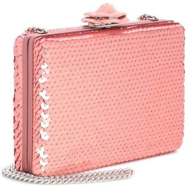 Oscar de la Renta Rogan Sequinned Box Clutch (14.600 HRK) ❤ liked on Polyvore featuring bags, handbags, clutches, pink purse, oscar de la renta handbags, hard clutch, oscar de la renta purse and sequin handbags