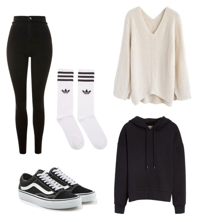 """black & white"" by kyrarosie on Polyvore featuring mode, Chicwish, Topshop, Burberry, adidas Originals en Vans"